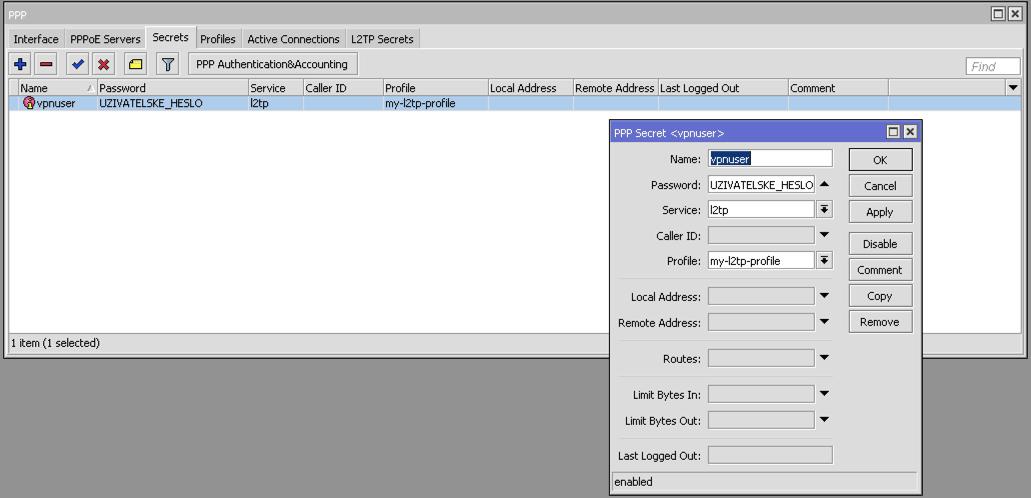 Jak nastavit L2TP/IPSec VPN na zařízeních Mikrotik – funkční