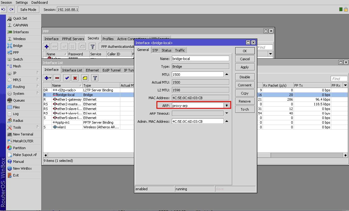 Proxy arp vpn mikrotik