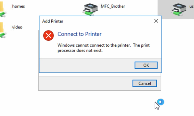 Solved: Installing network printer on Windows 10 despite getting 'Print processor does not exist' error