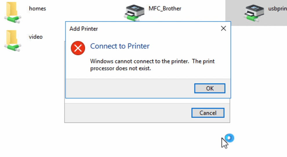 Solved: Installing network printer on Windows 10 despite getting 'Print processor does not exist' error